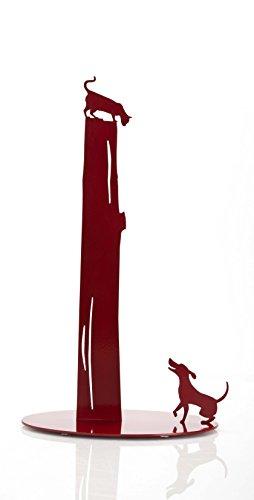 AD163 - Dog vs Cat - Red Metal Paper Towel Holder