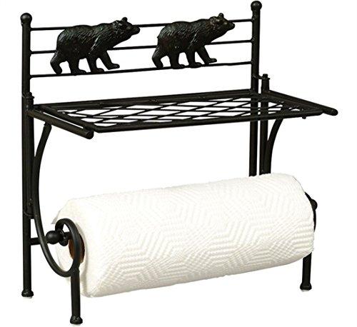 Decorative Paper Towel Holder Wall Mount - Bear Design Black Metal Paper Towel Holder With Shelf