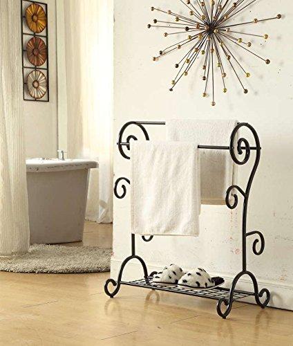 Black Finish Towel Rack Bathroom Stand Shelf Three Bars with Bottom Storage