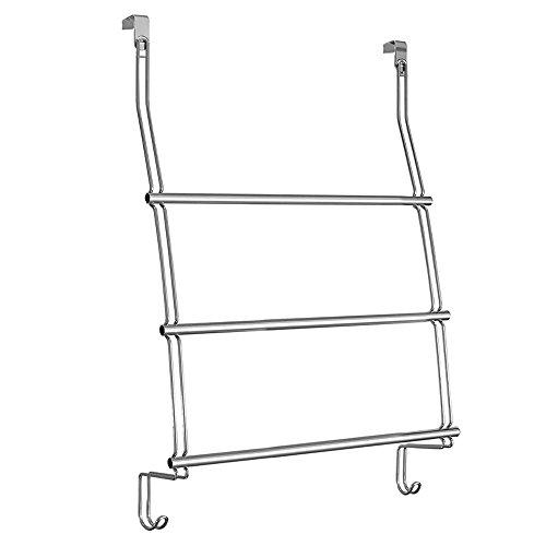 InterDesign Classico Over the Door Towel Rack with Hooks for Bathroom - Chrome