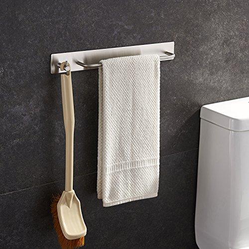 YIGII Towel Brush Bar Holder with Hook Hand Towel Rack Robe Coat Hook Self Adhesive 3M Stainless Steel SUS 304 Bathroom and Kitchen