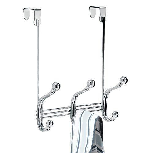 iDesign York Metal Over the Door Organizer 3-Hook Rack for Coats Hats Robes Towels Bedroom Closet and Bathroom 838 x 525 x 11 Chrome