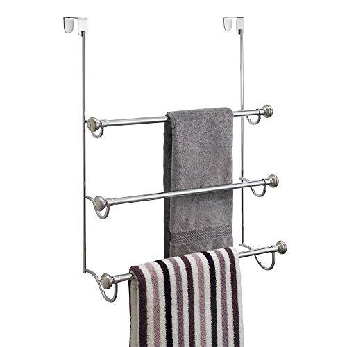 iDesign York Over the Shower Door Towel Rack for Bathroom 15 x 7 x 228 ChromeBrushed