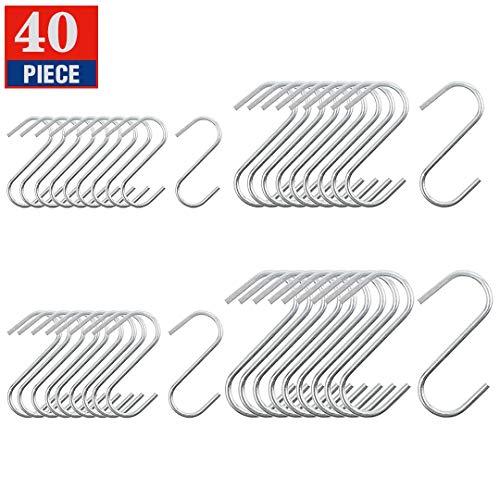 S Hooks Stainless Steel 40 Pcs in 4 Sizes S Shaped Hooks Hanging Hangers Hooks for Pan Pot Coat Bag Plants Kitchen Bathroom Bedroom