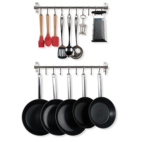 Wallniture Hanging Pot Pan Lid Utensil Organizer Kitchen Rail Stainless Steel 23 Inch Set of 2