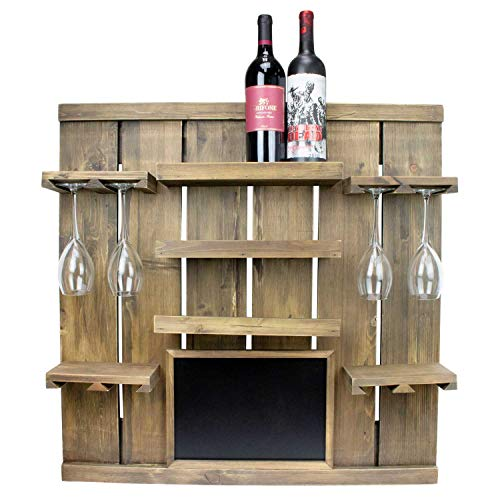 Atterstone Chalkboard Wine Rack Shelf Wall Mounted Wooden Wine Rack Shelf Comes with 3 Horizontal Wine Racks and Hanging Stemware Holders for 8 glasses