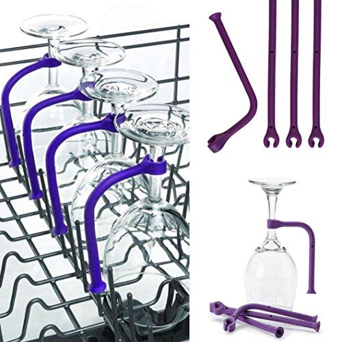 Gessppo 4pcsset Adjust Silicone Wine Glass Holder Dishwasher Safe Stemware Holder