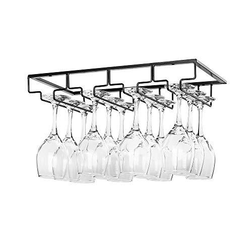 Wine Glass Rack Under Cabinet - Stemware Holder Metal Wine Glass Organizer Glasses Storage Hanger for Bar Kitchen Black 4 Rows