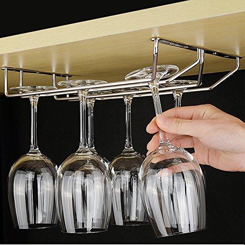 304 Stainless Steel Wine Glass Holder Under Cabinet Wine Glass Rack Wine Glass Hanger Stemware Rack 2 Rails