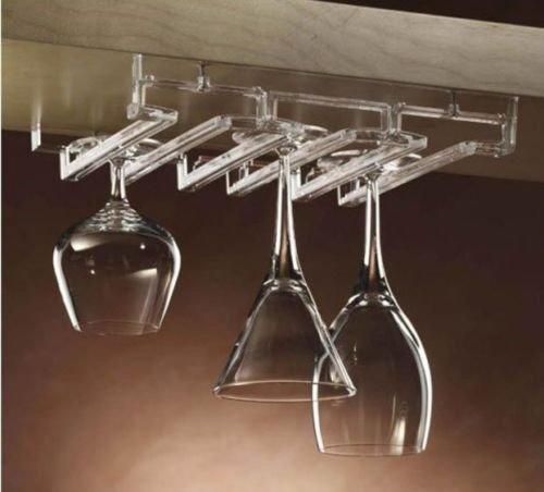 Acrylic Modular Stemware Wine Glass Rack Under Cabinet Shelf Glasses