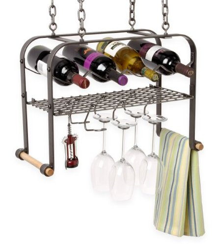 Enclume Hanging Wine Glass and Accessories Rack Hammered Steel