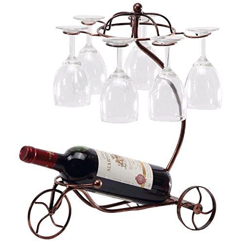 Creative Western European Retro Chariot Style Wine Bottle Glass Rack Wrought Iron Wine Holder Bronze