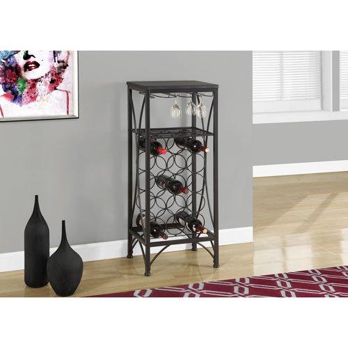 Hawthorne Ave Home Bar - 40H  Black Metal Wine Bottle and Glass Rack