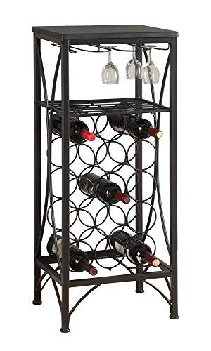 L&S Basics 10663 Home Bar - 40H  Black Metal Wine Bottle And Glass Rack