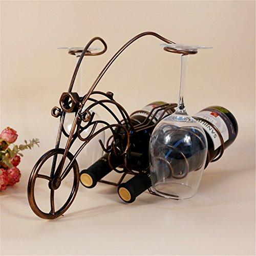 Ussuperstar Motorcycle Wine Bottle Glass Rack Holder Home Kitchen Living Dining Room Decor Accent 41cm ¡Á21cm ¡Á28cm