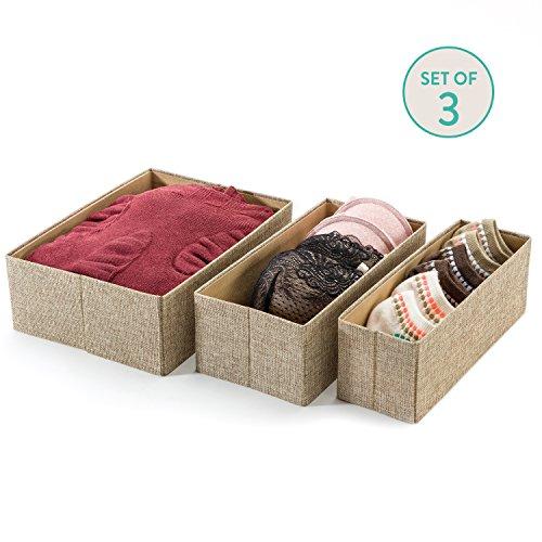 Drawer Storage Bins Set of 3 Decorative Closet Organizer Bins Fabric Drawer Dividers Easy to open and folds flat for storage Great Drawer Organizer for Storing Underwear SocksBeige
