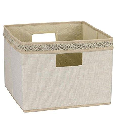 Household Essentials Storage Bin Natural Ivory with Decorative Trim