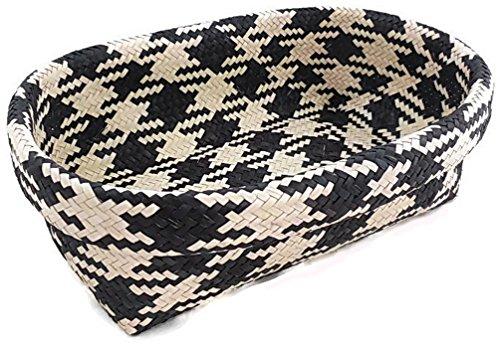 Oval Wicker Basket Decorative Storage Bin Black and White Checkered Pattern
