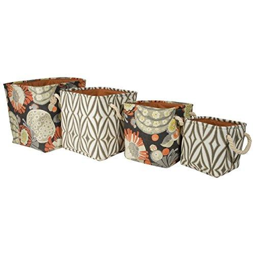 Storage Bins - Waverly – Set Of Four Printed Canvas Storage Bins With Rope Handles – Open Storage Bins – Geometric Print – Floral Print – Decorative Storage Bins Beige