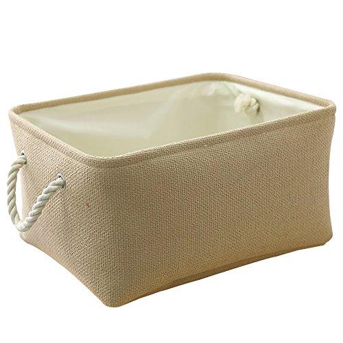 TheWarmHome Beige Linen Storage Basket Bin with Rope Handles Decorative Basket for Shelves 138 L×98 W×67 H inch