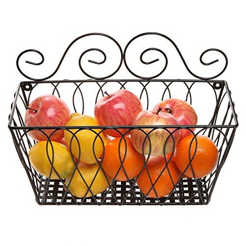 Wall Mounted Decorative Scrollwork Design Black Metal Wire Fruit Basket  Home Storage Bin Rack - MyGift