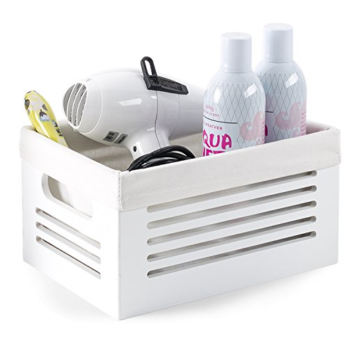 Wooden Storage Bin Container - Decorative Closet Cabinet and Shelf Basket Organizer Lined With Machine Washable Soft Linen Fabric - White Small - By Creative Scents
