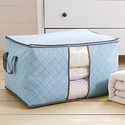 Amaonm Jumbo Blanket Storage Bags With Zipper Comforter Underbed Closet Space Saver Bag Clothes Bed Quilt Storage Bag Folding Organizer Bag 236X165X142 blue