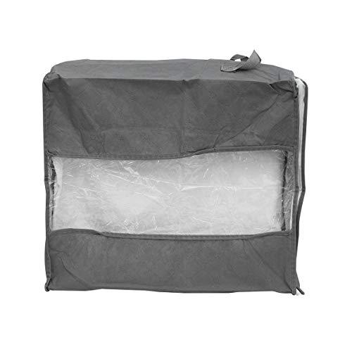 BESTOMZ Blanket Bag with Zipper and Handles Large Storage Bag for Comforters Clothes Grey 44x30x48cm Zipper Color Random