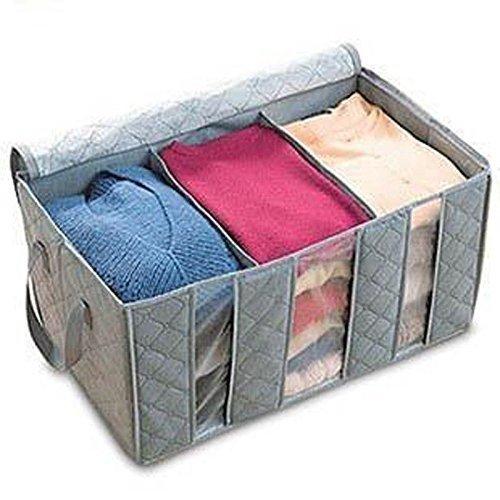 Leshery 65L 603530cm Foldable Storage Bag Clothes Blanket Closet Sweater Organizer Box Charcoal