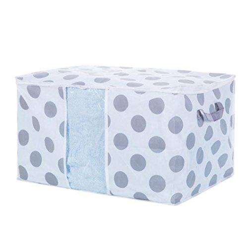 ZTY66 Fabric Foldable Storage Bag  Organizer Box for Clothes Blanket Quilt 60 x 43 x 36CM Dot Pattern