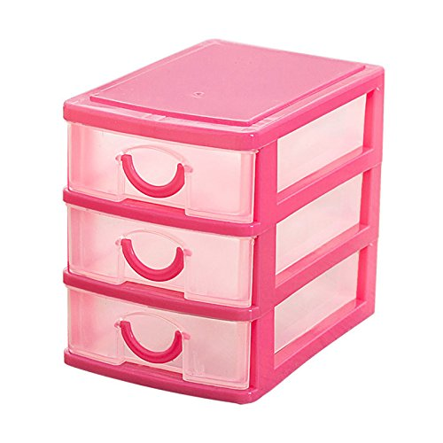 TOOGOORMini translucent Drawer type plastic Storage Box£¨rose red 3 Layers£