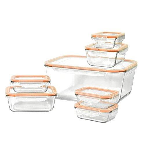 Basic Essentials TTU-V0506 Glass Storage 14pc Set Medium Orange