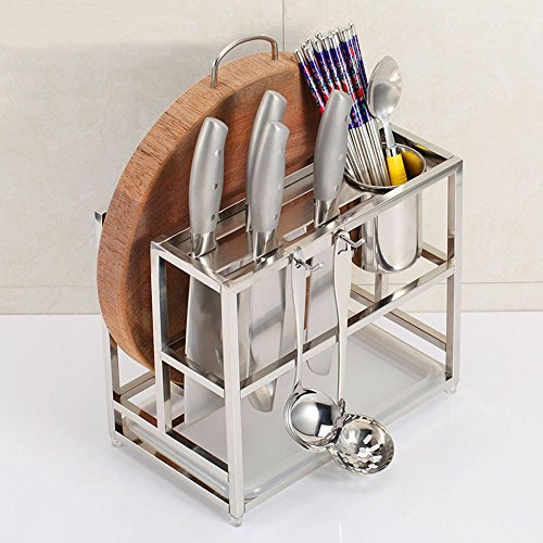 HONGJING Stainless Steel Kitchen Storage Rack Multifunctional Combination Tool Shelf Knife Chopping Block Shelves Tableware Cutting Board Shelf Tool Shelf  Hook