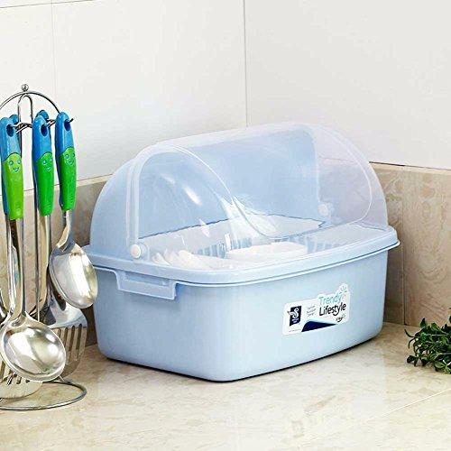 SSBY Home transparent flip ajar drain Bowl tableware storage boxes shelves plastic cupboard storage rackBlue