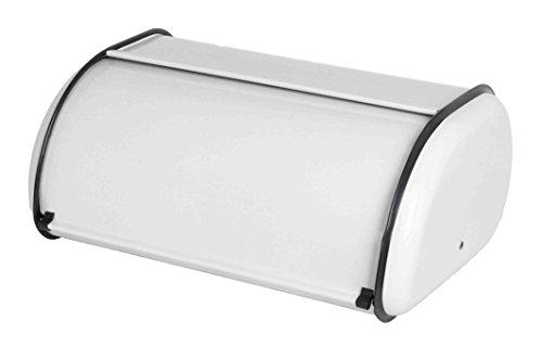 Home Basics Roll-Top Lid Steel Bread Box For Kicthen Bread Bin Bread Storage Bread Holder White