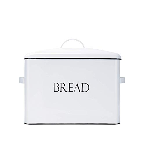 Outshine Vintage Metal Bread Bin - Countertop Space-Saving Extra Large High Capacity Bread Storage Box for your Kitchen - Holds 2 Loaves 13 x 10 x 7- White with BREAD Lettering Renewed