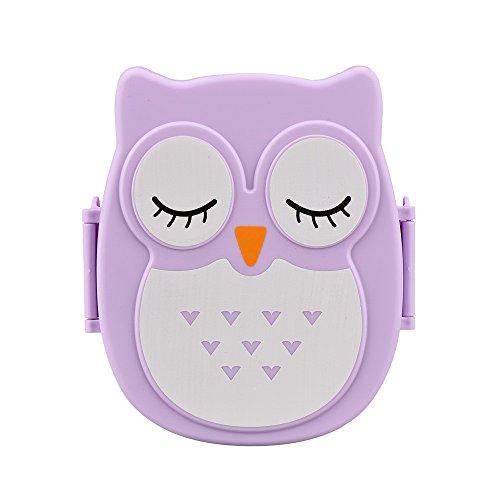 Food storage and organization set owl cartoon portable bento box food container storage box Purple