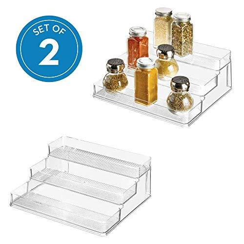 iDesign Linus Plastic Stadium Spice Rack Set BPA-Free 3-Tiered Organizer for Kitchen Pantry Bathroom Vanity Office Craft Room Storage Organization Set of 2 Clear