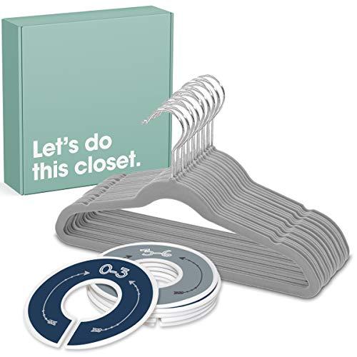 pikkuboo 20 Baby Hangers and 6 Closet Size Dividers Complete Nursery Closet Organization Set Arrows