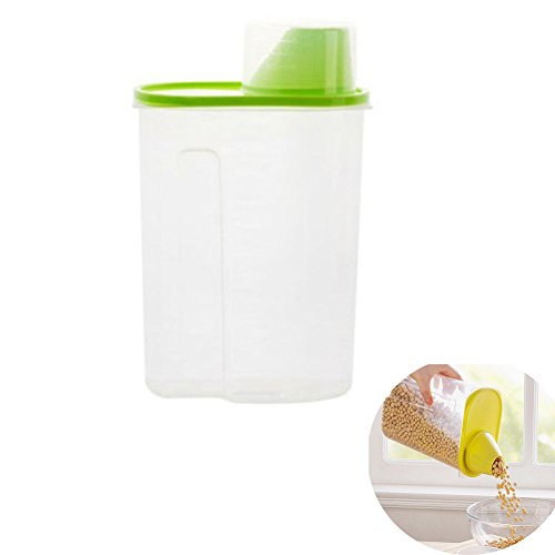 Vivian 19L Plastic Transparent Kitchen Food Cereal Grain Bean Rice Storage Container Box Case Green
