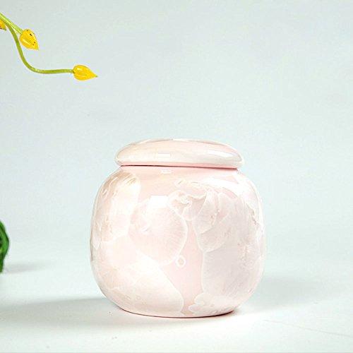 XDOBO Mini Crystalline Glaze Ceramic Tea Tin Pot Tea Sealed Storage Container pink