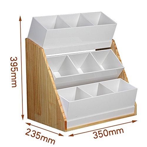 new 9 grid wood frameacrylic K Cup Organizer Coffee Condiment Accessories Caddy Office milk ball sugar packet tea Straw Holder