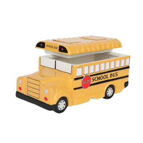 975 Inch Yellow School Bus Ceramic Cookie Jar Statue Figurine