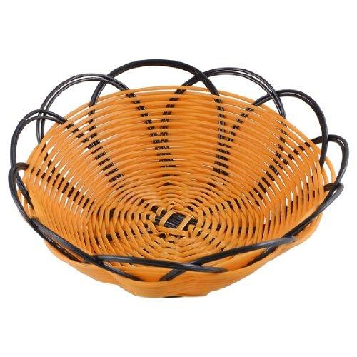Water Wood 7 Plastic Braided Basket Fruit Vegetable Cookies Container Holder Dark Yellow Black
