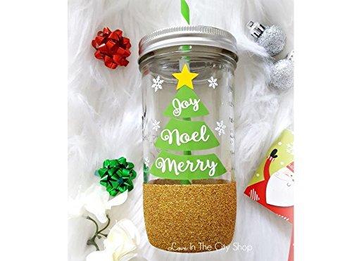 Christmas Tumbler Noel Tumbler Merry and Bright Tumbler Glitter Tumbler Custom Glitter Drinkware Holiday Jar Christmas Tree Tumbler