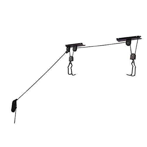 Bike Bicycle Lift Ceiling Mounted Hoist Hanger Pulley Rack For Home Garage Storage