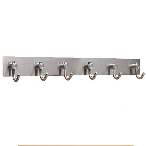 Stainless Steel Self Adhesive Hook Key Rack Garage Storage Organizer Stick on Sticky Bathroom Kitchen Towel Hanger Brushed Finish 6 Hooks