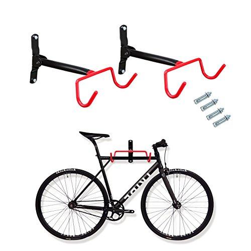 Voilamart 2pcs Bike Wall Mount Hanger - Indoor Storage Rack Garage Bicycle Holder Hook Folding Space Saver with Screws 66lb Max Capacity