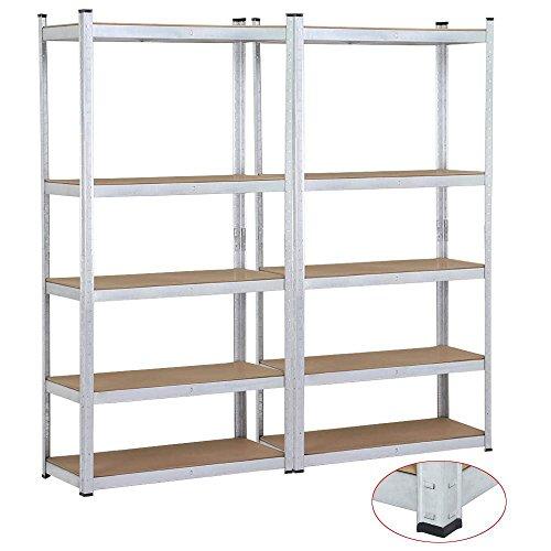 Yaheetech 2 Bay Heavy Duty 5 Level Silver Storage Shelving Unit Adjustable Garage Shelves Rack
