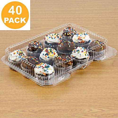 40 Mini Cupcake Boxes  Mini Cupcake Container 12 Compartment - Clear Plastic Mini Cupcake Carrier  Mini Muffin Holders - Small Cupcake Clamshell  Disposable Cupcake Packaging Transporter